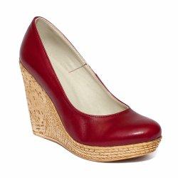 Pantofi dama   - Pantofi platforma dama piele 569 bordo 34-41