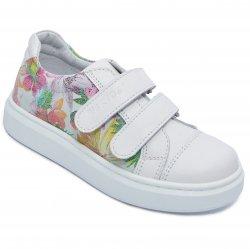 Pantofi sport copii  - Pantofi sport fete hokide 387 alb flori 26-35
