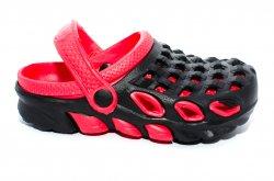 Papuci copii  - Papuci crocsi copii de plaja 1033 negru rosu 30-35