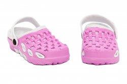 Papuci copii  - Papuci crocsi fete din cauciuc 1033 roz alb 18-35