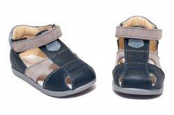 Sandale copii  - Sandale baieti avus din piele AV37 blu gri 17-26