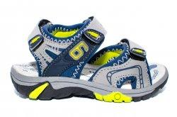 Sandale copii  - Sandale baieti brant din piele 481 gri blu 24-35