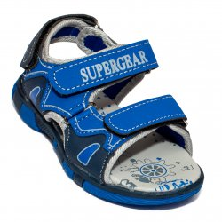 Sandale copii  - Sandale baieti cu brant din piele 1298 albastru 25-30
