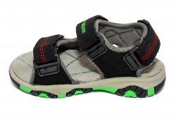 Sandale copii  - Sandale baieti cu brant din piele 298 negru verde 24-30
