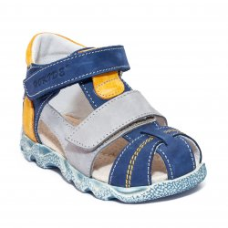 Sandale copii  - Sandale baieti cu picior lat hokide 405 albastru gri port 18-25