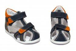 Sandale copii  - Sandale baieti hokide picior lat 311 blu gri port 18-25