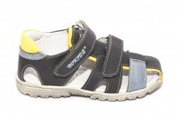 Sandale copii  - Sandale baieti hokide picior lat 357 gri albastru galben 28-32