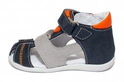 Sandale copii  - Sandale baieti hokide picior lat 405 blu portocaliu 18-25