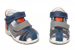 Sandale copii  - Sandale baieti picior lat hokide 405 blu gri portocaliu 18-27