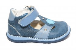 Sandale copii  - Sandale baieti piele 1323 blu gri 18-25