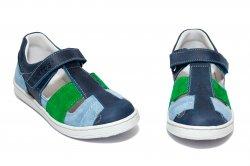 Sandale copii  - Sandale baieti piele hokide 422 blu verde albastru 26-35