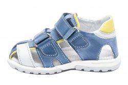 Sandale copii  - Sandale copii hokide picior lat 357 albastru galben 22-27