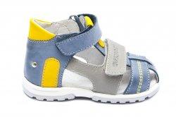 Sandale copii  - Sandale copii picior lat hokide 405 albastru galben gri 18-27
