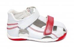 Sandale copii  - Sandale copii piele Mario 20-26 alb rosu