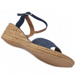 Sandale dama  - Sandale dama platforma piele 111 blu lux 35-41