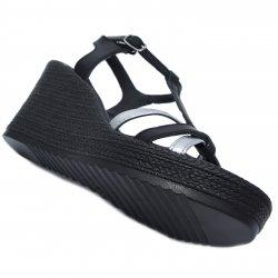 Sandale dama  - Sandale dama platforma piele 5015 negru argintiu 35-41