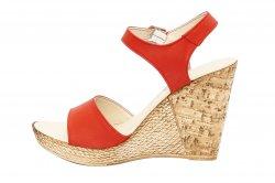 Sandale dama  - Sandale dama platforma piele naturala Tisa 387 corai 34-40