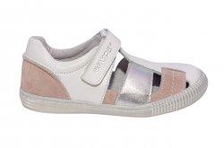 Sandale copii  - Sandale fete piele de vara hokide 422 alb roz 26-35