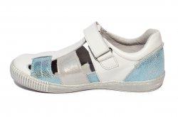 Sandale copii  - Sandale fete piele naturala hokide 422 alb cielo 26-30