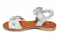 Sandale copii  - Sandale fete piele pj shoes Ana alb flori 27-36