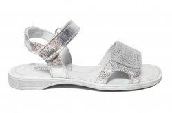 Sandale copii  - Sandale fete pj shoes piele Ana argintiu 27-36
