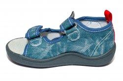 Sandale copii  - Sandalute baieti flexibile cu brant din piele 1430 blue 20-25