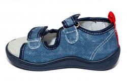 Tenisi copii  - Sandalute baieti flexibile cu brant din piele 1430 navi 20-25