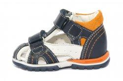 Sandale copii  - Sandalute baieti hokide picior lat din piele naturala 311 blu alb port 18-25