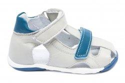 Sandale copii  - Sandalute baieti picior lat pj shoes Mario gri blu 18-26