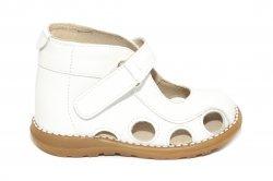 Sandale copii  - Sandalute copii picior lat gros pufos 550 alb 18-25