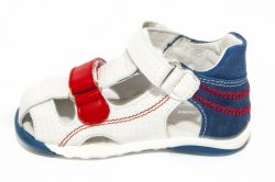Sandale copii  - Sandalute copii piele Mario alb albastru rosu 18-26