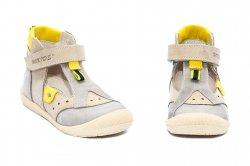Sandale copii  - Sandalute copii piele hokide 305 gri galben 18-25