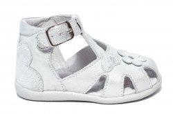 Sandale copii  - Sandalute fete inalte pe glezna hokide 77 argintiu 18-24