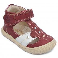 Sandale copii  - Sandalute ortopedice fete hokide piele 273 visiniu alb 18-25