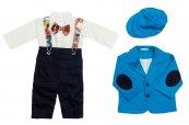 Costum botez baieti Catalin albastru blu 3luni-9luni
