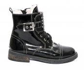 Ghete blana fete pj shoes Army negru lac 31-36