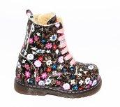 Ghete fete cu blana pj shoes King print roz 20-26