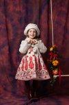 Palton fete cu palarie brodat Andreea tex bej 1an-10ani
