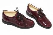 Pantofi copii piele elegant scoala 102 visiniu lac brodat 28-37