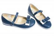 Pantofi balerini copii scoala 1326 albastru alb 26-36