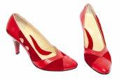 Pantofi dama cu toc din piele 612 rosu