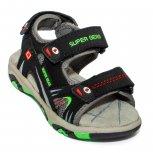 Sandale baieti cu brant din piele 298 negru verde 24-30