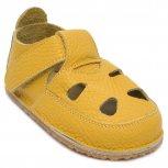 Sandale copii barefoot din piele 2022 galben 17-25