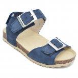 Sandale copii piele cu talpa din pluta pj shoes Leon albastru 27-36