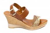 Sandale cu platforma dama piele naturala 072 maro 35-41