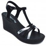 Sandale dama platforma piele 5015 negru argintiu 35-41