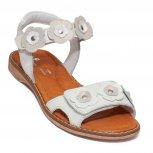 Sandale fete piele pj shoes Ana alb flori 27-36