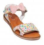 Sandale fete piele pj shoes Ana alb print 27-36