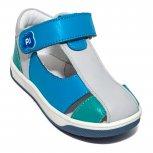 Sandalute baieti piele pj shoes Pablo albastru gri 18-26