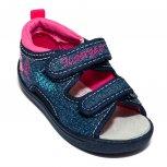 Sandalute fete cu brant din piele flexibile 1433 blu roz 20-25